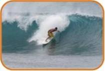 Wellenreiter an der Nordküste von O'ahu